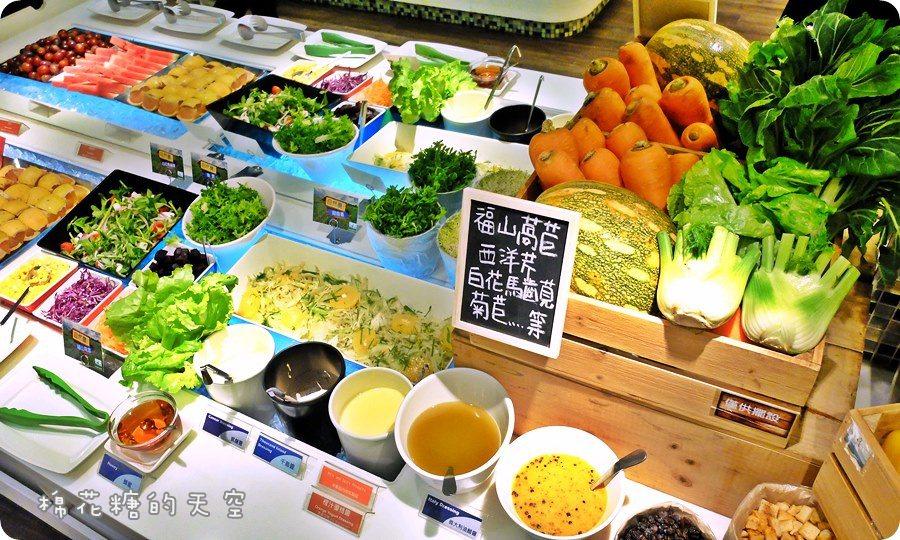 """台中吃到飽‖快來聚坊Great Room""""呷在地,愛小農""""!自然農法栽種~多種在地小農蔬菜吃到飽,還有沙拉、麵包、熟食、甜品、水果、飲料……飽到天靈蓋啦!"""
