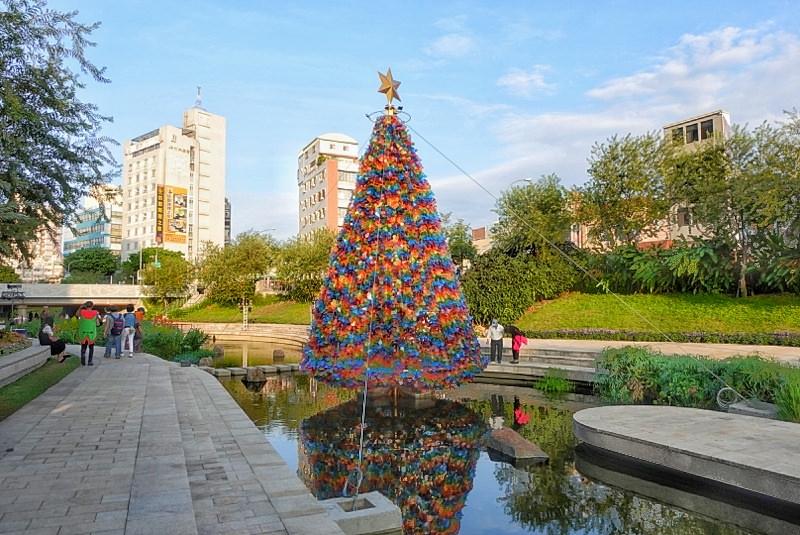 台中景點 超浪漫柳川水中聖誕樹點燈啦!繽紛七彩聖誕樹白天也好美